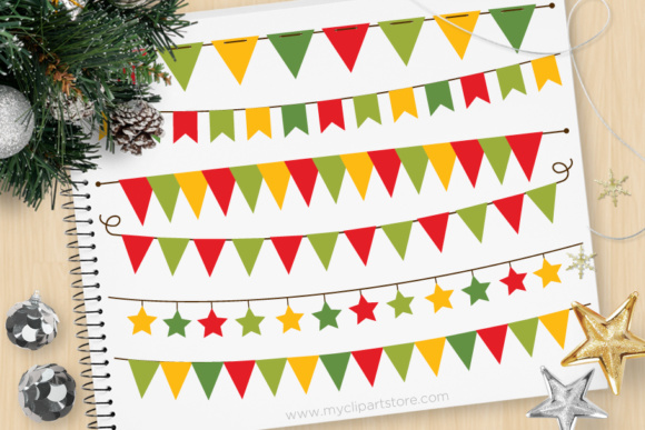 Print on Demand: Bunting Christmas Graphic Illustrations By MyClipArtStore