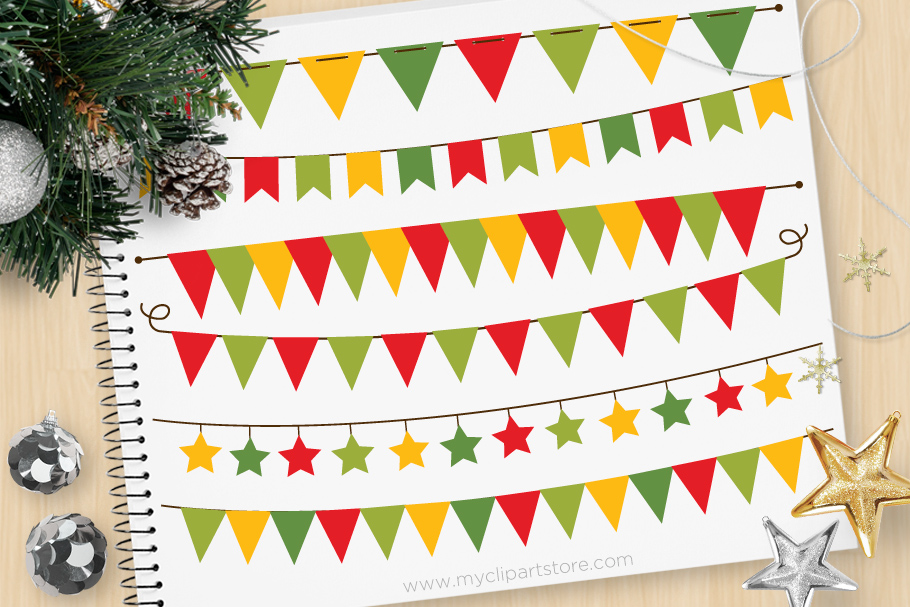 Download Free Bunting Christmas Graphic By Myclipartstore Creative Fabrica for Cricut Explore, Silhouette and other cutting machines.