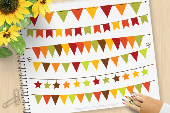 Print on Demand: Bunting Fall Graphic Illustrations By MyClipArtStore