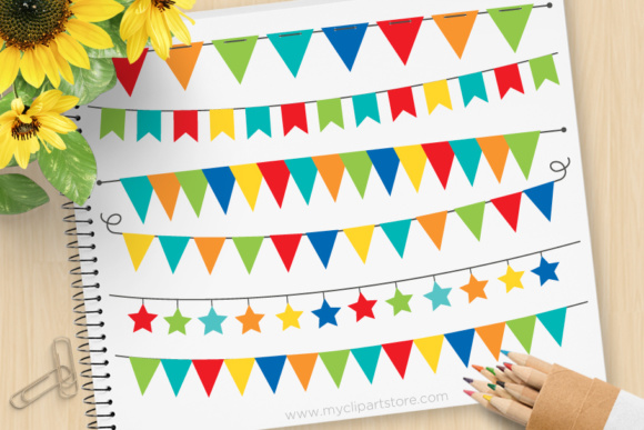 Print on Demand: Bunting Primary Graphic Illustrations By MyClipArtStore