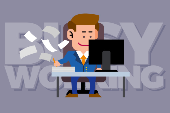Busy Working Illustration Graphic By KitCreativeStudio