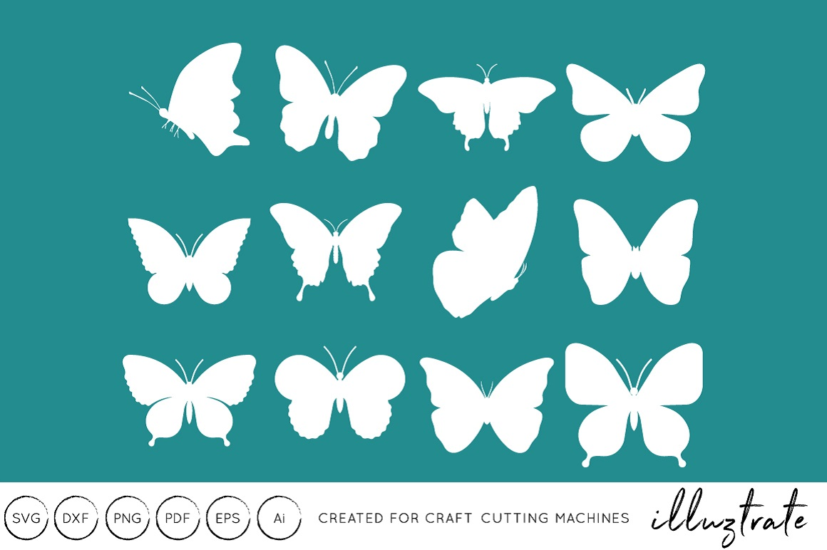 Download Free Butterfly Cut File Graphic By Illuztrate Creative Fabrica for Cricut Explore, Silhouette and other cutting machines.