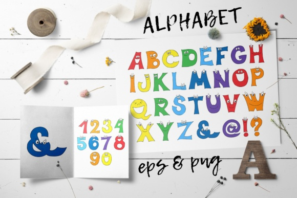 Print on Demand: Cartoon Alphabet and Numbers Graphic Illustrations By nicjulia