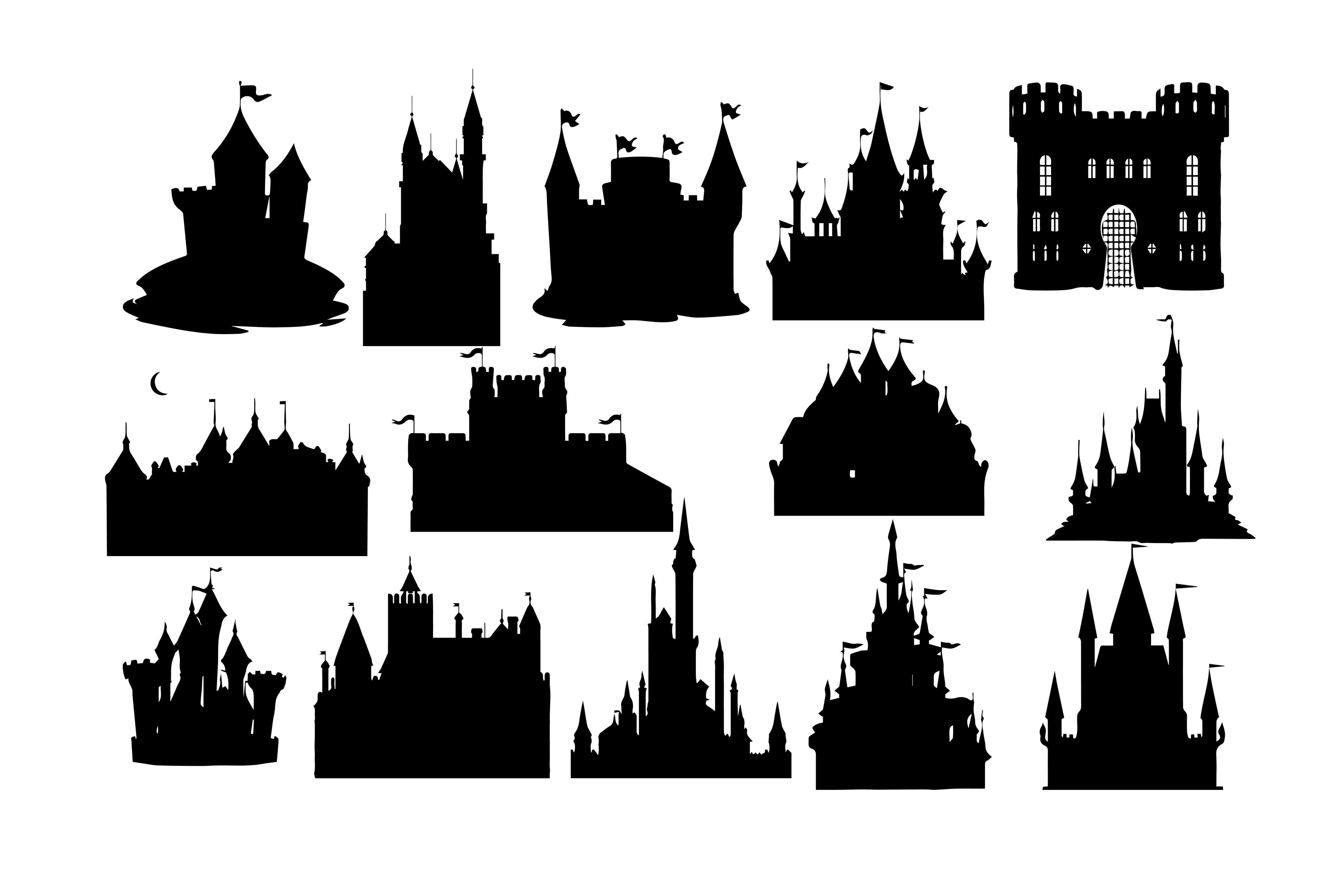 Download Free Castle Silhouette Graphic By Retrowalldecor Creative Fabrica for Cricut Explore, Silhouette and other cutting machines.