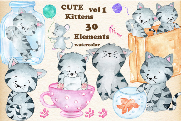 Cats, Kitten Clipart Graphic Illustrations By vivastarkids