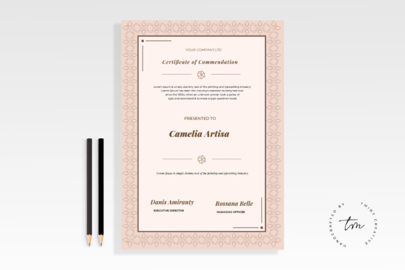 Certificate Template Graphic Print Templates By TMint