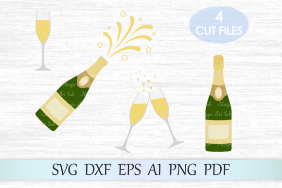 Download Free Champagne Bottle Graphic By Magicartlab Creative Fabrica for Cricut Explore, Silhouette and other cutting machines.