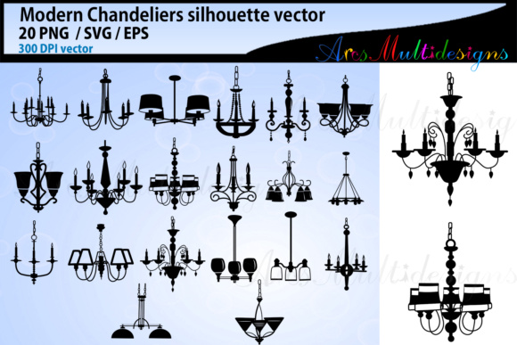 Print on Demand: Chandeliers Silhouette Bundle Graphic Crafts By Arcs Multidesigns