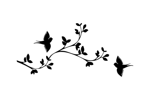 Download Free Cherry Blossom Branch With Birds Graphic By Studio 26 Design Co for Cricut Explore, Silhouette and other cutting machines.