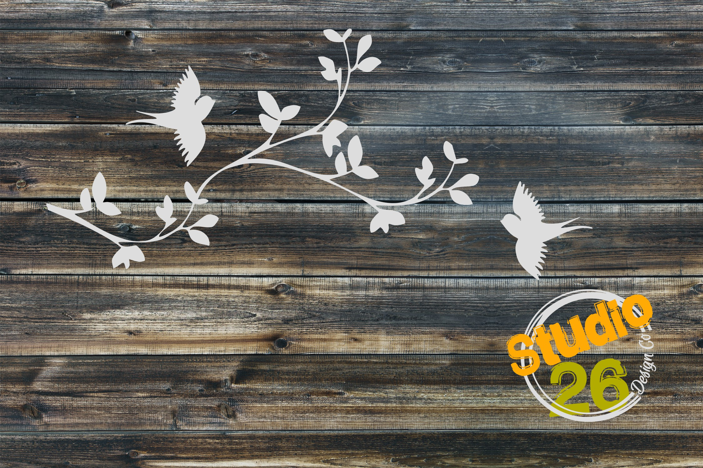 Download Free Cherry Blossom Branch With Birds Grafik Von Studio 26 Design Co for Cricut Explore, Silhouette and other cutting machines.