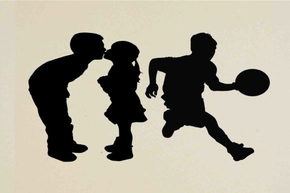 Download Free Children Silhouette Svg Dxf Png Eps Grafico Por Retrowalldecor for Cricut Explore, Silhouette and other cutting machines.