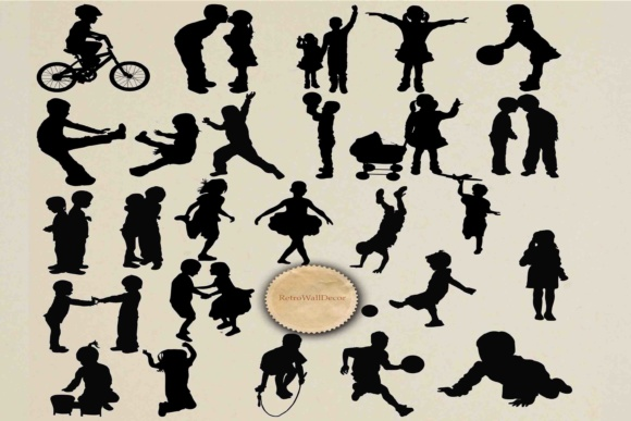 Download Free Children Silhouette Graphic By Retrowalldecor Creative Fabrica for Cricut Explore, Silhouette and other cutting machines.