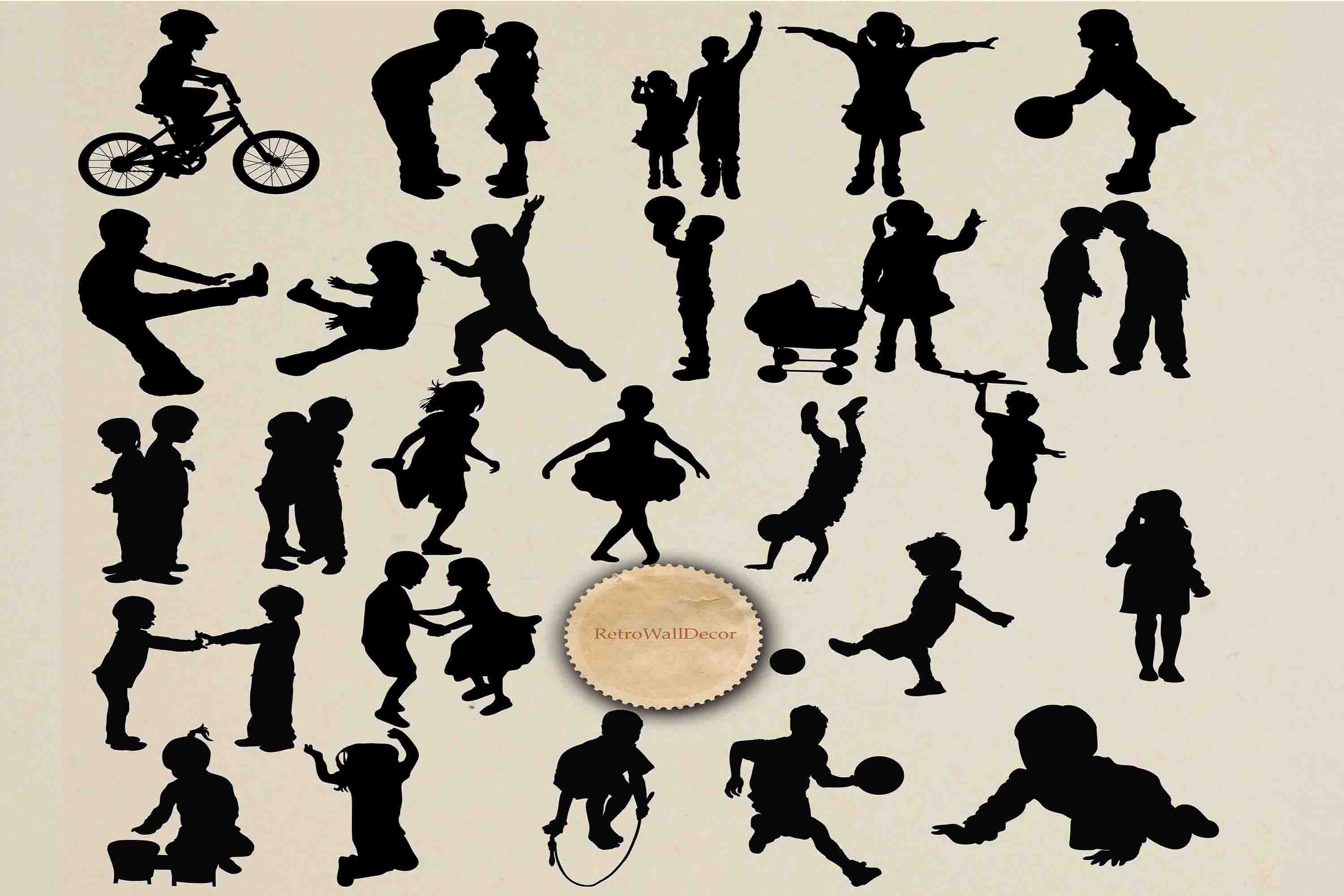 Download Free Children Silhouette Graphic By Retrowalldecor Creative Fabrica SVG Cut Files