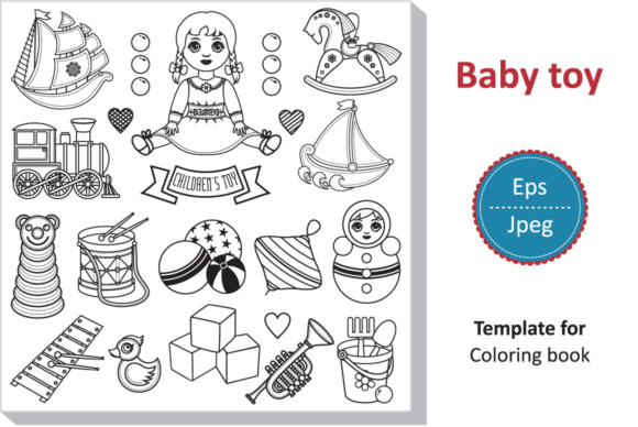 Download Free Children S Toy Set Baby Template For Coloring Book Graphic By for Cricut Explore, Silhouette and other cutting machines.