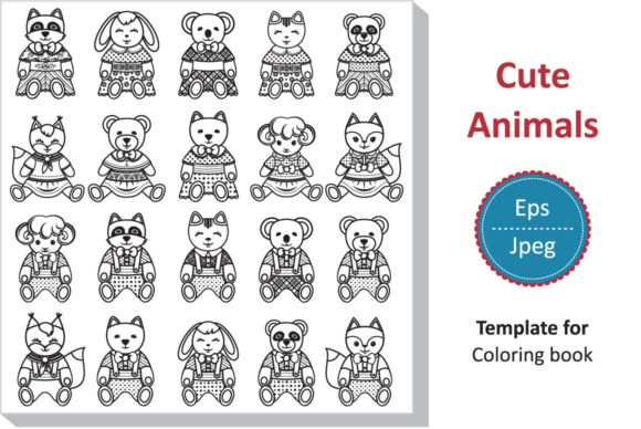Download Free Children S Toy Set Cute Animal Template For Coloring Book for Cricut Explore, Silhouette and other cutting machines.