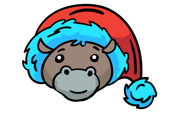 Download Free Christmas Jungle Face Hippo Svg Cut File By Creative Fabrica for Cricut Explore, Silhouette and other cutting machines.