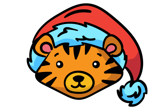 Christmas Jungle Face Tiger Svg Cut File By Creative Fabrica