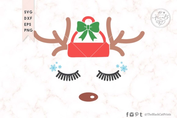 Download Free Christmas Reindeer Face Svg Graphic By Theblackcatprints for Cricut Explore, Silhouette and other cutting machines.