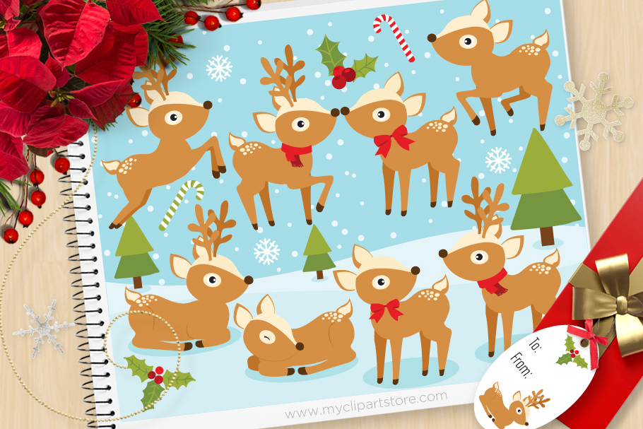 Download Free Christmas Reindeer Festive Graphic By Myclipartstore Creative for Cricut Explore, Silhouette and other cutting machines.