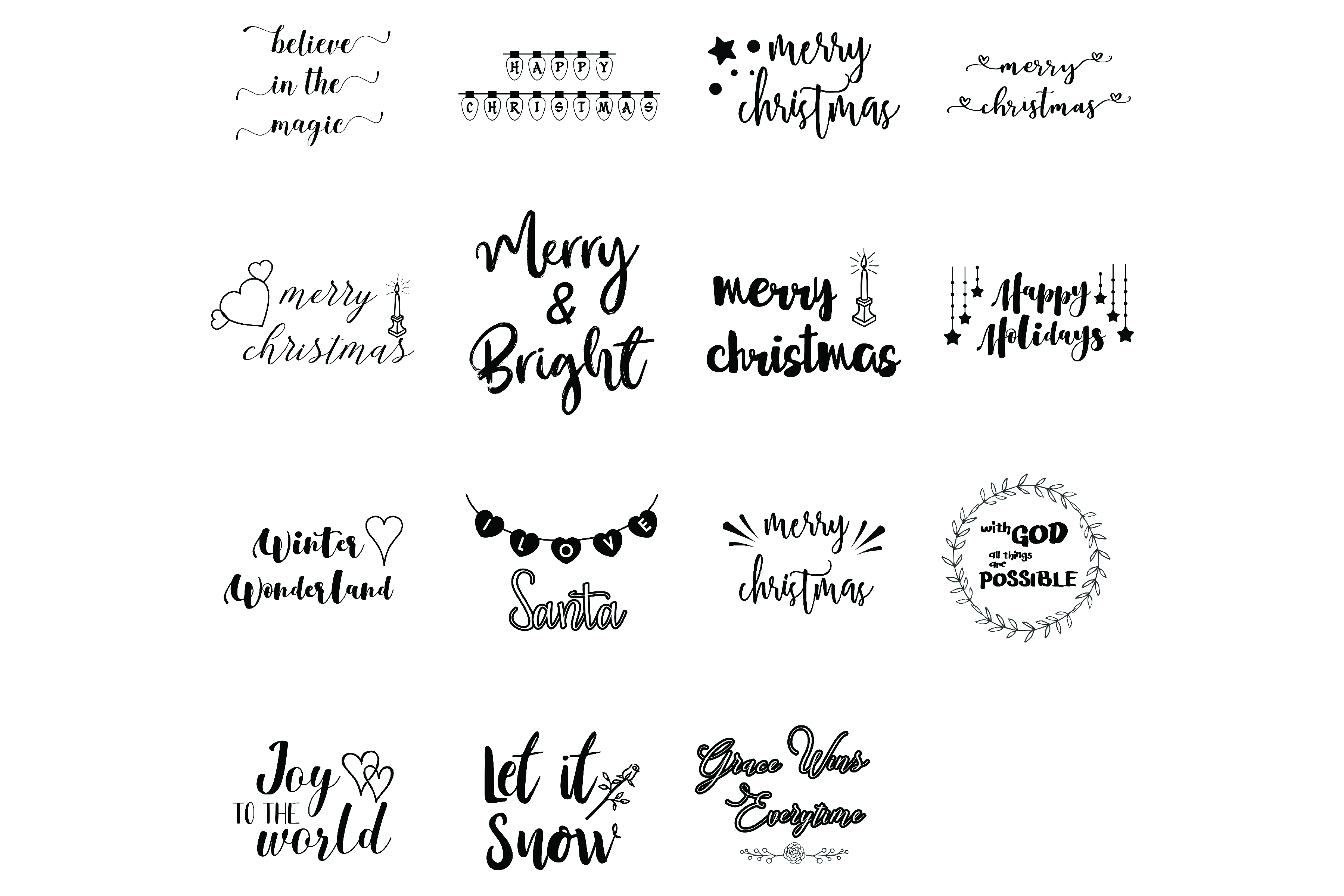 Christmas Sayings Quotes Bundle Svg Cut File Graphic by BlueStar ...