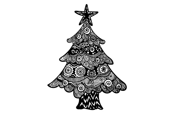Download Free Christmas Tree Zentangle Design Svg Cut File By Creative Fabrica for Cricut Explore, Silhouette and other cutting machines.