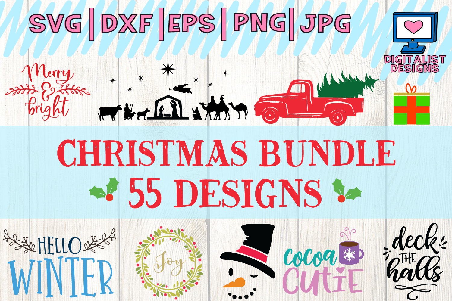 Download Free 55 Christmas Quotes Designs Bundle Graphic By Digitalistdesigns Creative Fabrica for Cricut Explore, Silhouette and other cutting machines.