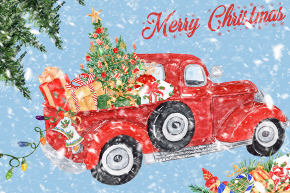 Download Free Christmas Clipart Christmas Truck Graphic By Lecoqdesign for Cricut Explore, Silhouette and other cutting machines.