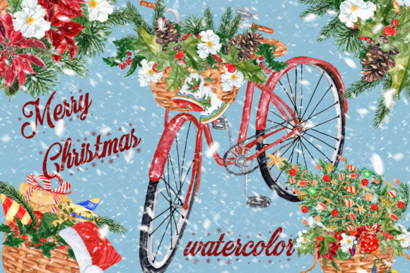 Christmas Watercolor Bike Clipart Graphic Illustrations By LeCoqDesign