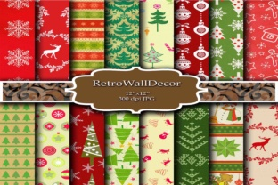 Christmas Digital Papers Graphic By retrowalldecor
