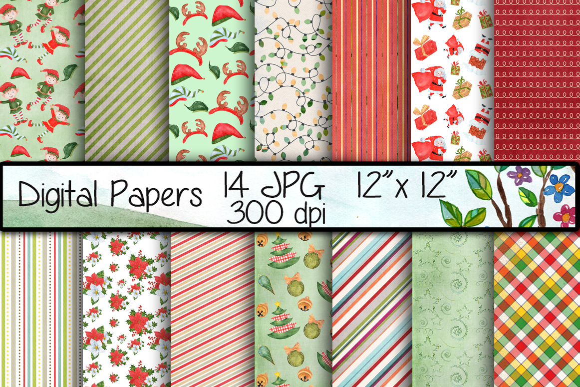 Download Free Christmas Digital Papers Graphic By Vivastarkids Creative Fabrica for Cricut Explore, Silhouette and other cutting machines.