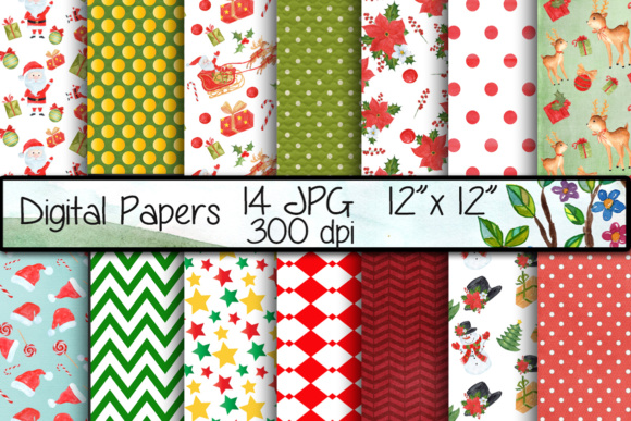 Christmas Digital Papers Graphic Backgrounds By vivastarkids