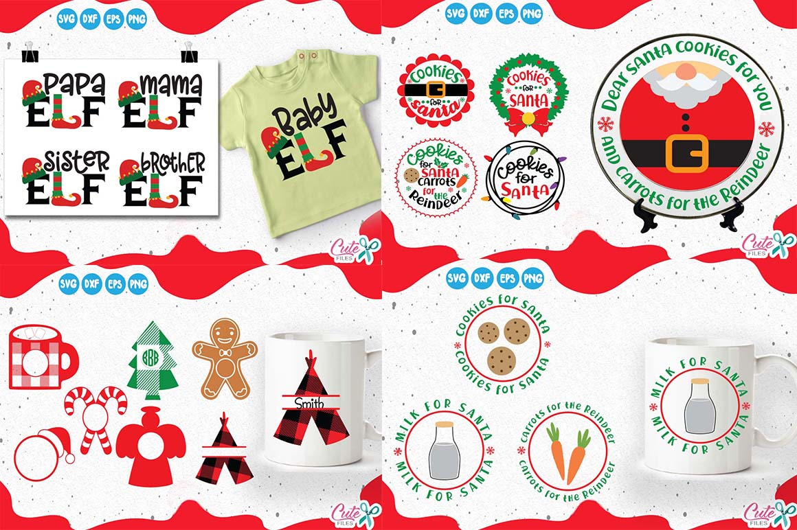 Download Free Christmas Mini Bundle Vol 2 Graphic By Cute Files Creative for Cricut Explore, Silhouette and other cutting machines.