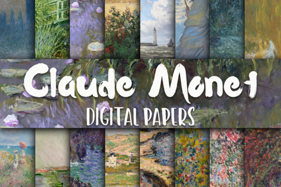 Print on Demand: Claude Monet Paintings Digital Papers Graphic Backgrounds By oldmarketdesigns
