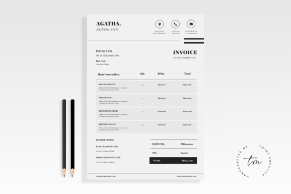 Clean Invoice Graphic Print Templates By TMint