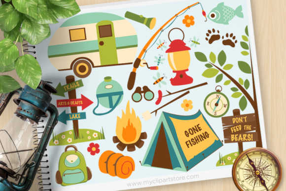 Print on Demand: Clipart Dad Camping Graphic Illustrations By MyClipArtStore