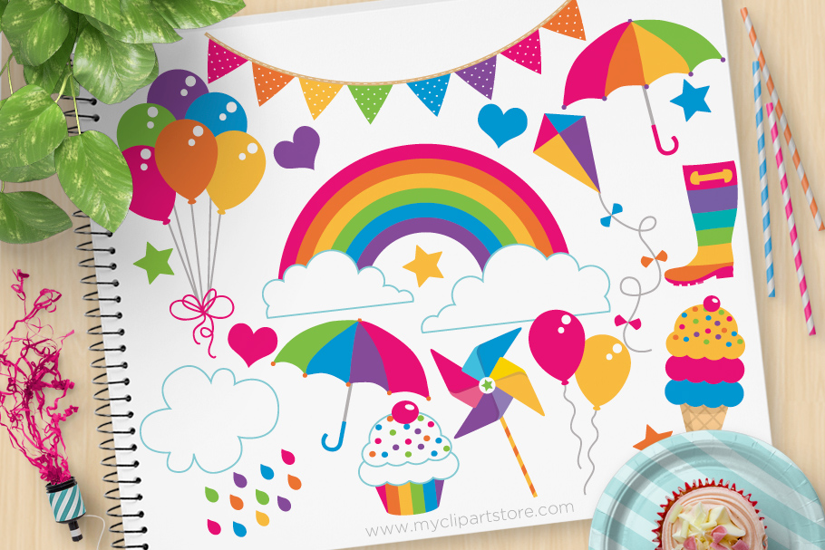Download Free Clipart Rainbow Fun Party Graphic By Myclipartstore Creative for Cricut Explore, Silhouette and other cutting machines.