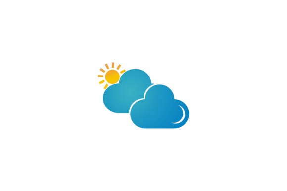 Download Free Cloud Logo Icon Two Clouds With Sun Graphic By Leisureprojects for Cricut Explore, Silhouette and other cutting machines.