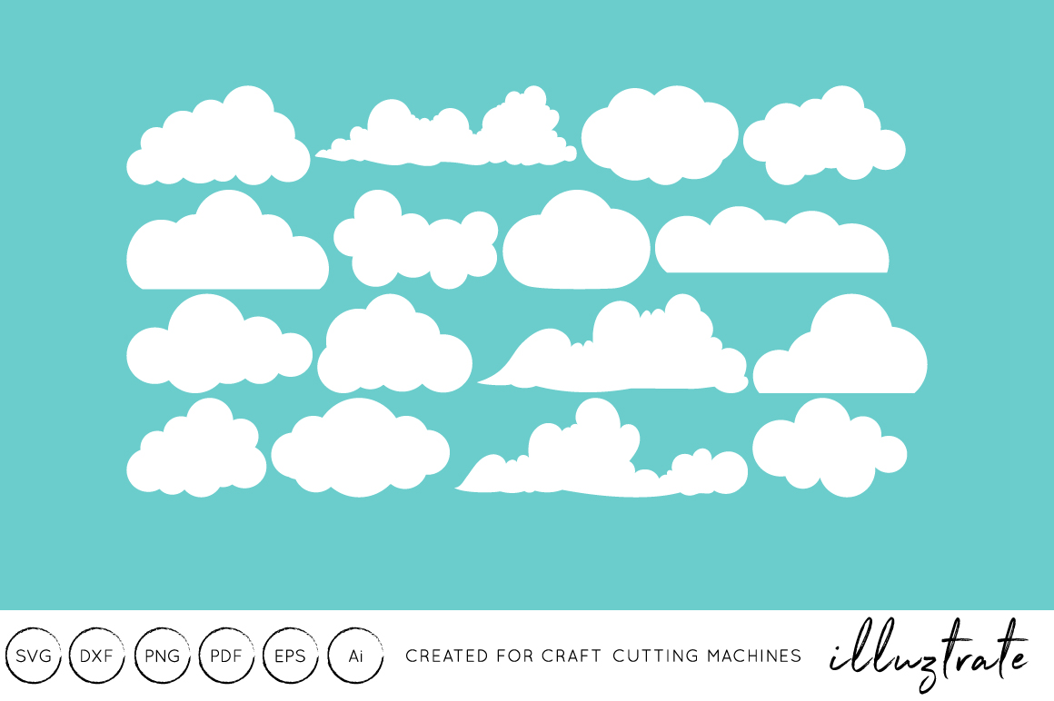 Download Free Clouds Craft Cutting Files Graphic By Illuztrate Creative for Cricut Explore, Silhouette and other cutting machines.