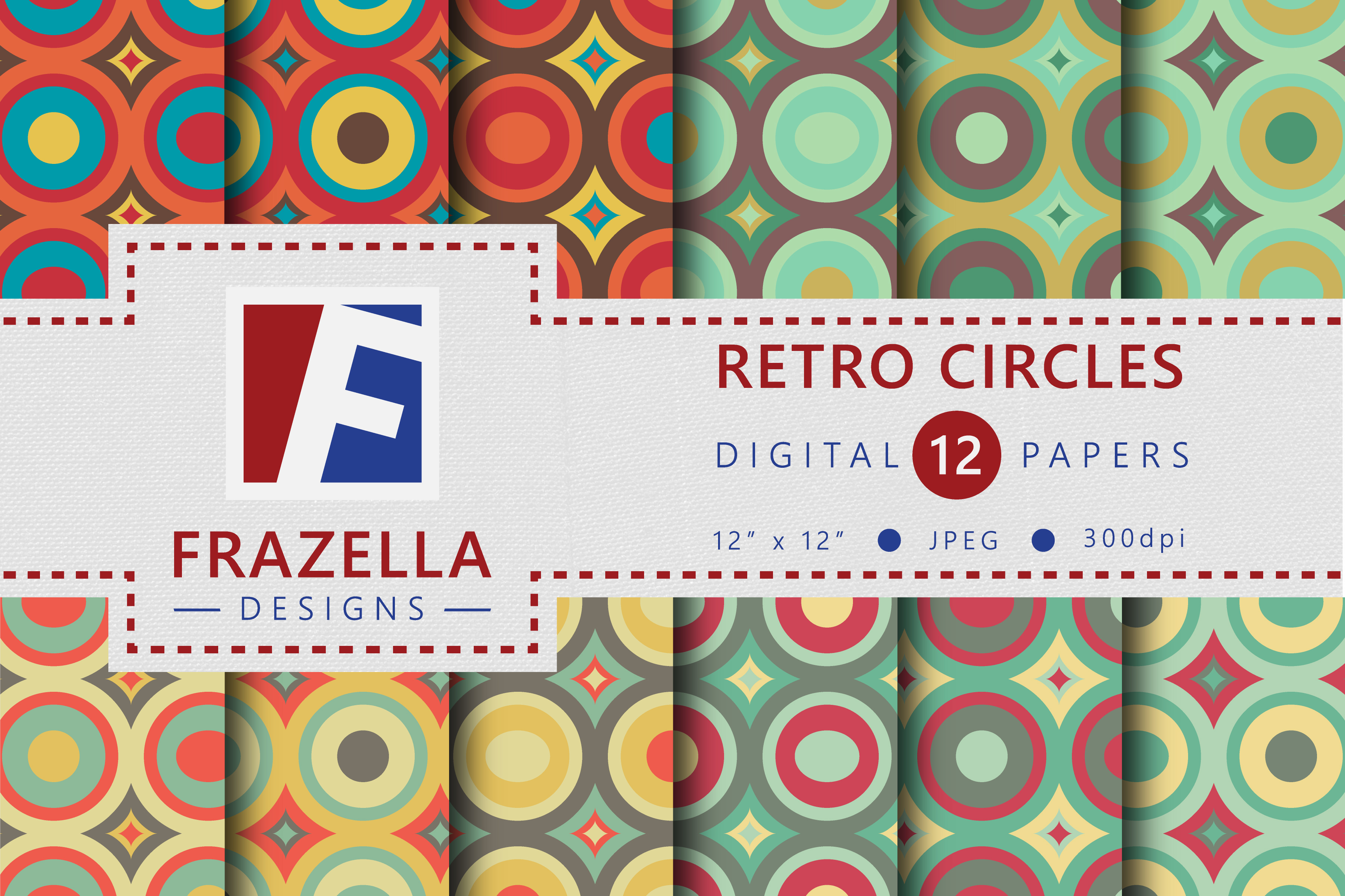 Download Free Colorful Retro Circles Digital Paper Collection Graphic By for Cricut Explore, Silhouette and other cutting machines.