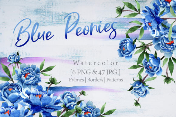 Print on Demand: Cool Blue Peonies PNG Watercolor Flower Set  Graphic Illustrations By MyStocks
