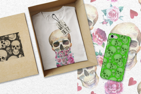 Print on Demand: 23 Watercolor Skull Drawings Set Graphic Illustrations By MyStocks - Image 2