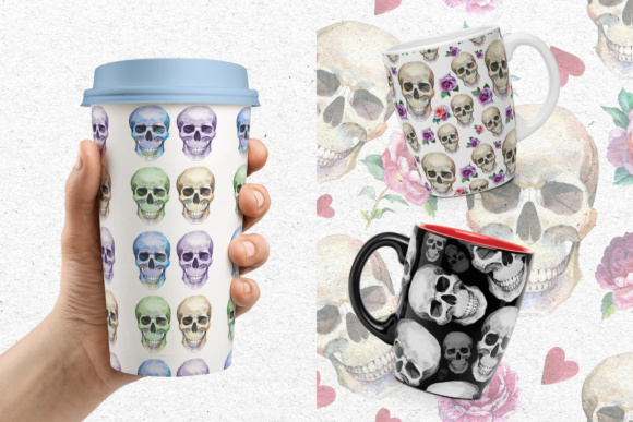 Print on Demand: 23 Watercolor Skull Drawings Set Graphic Illustrations By MyStocks - Image 3