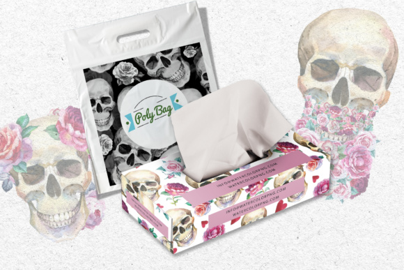 Print on Demand: 23 Watercolor Skull Drawings Set Graphic Illustrations By MyStocks - Image 6