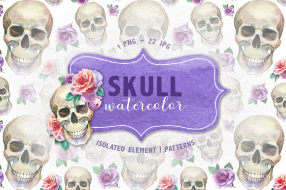 Print on Demand: 23 Watercolor Skull Drawings Set Graphic Illustrations By MyStocks