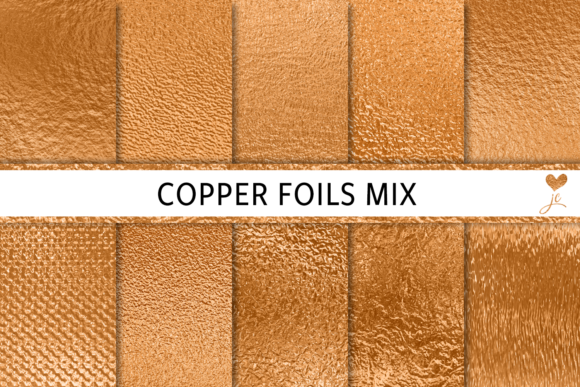 Print on Demand: Copper Foils Mix Graphic Textures By JulieCampbellDesigns - Image 1