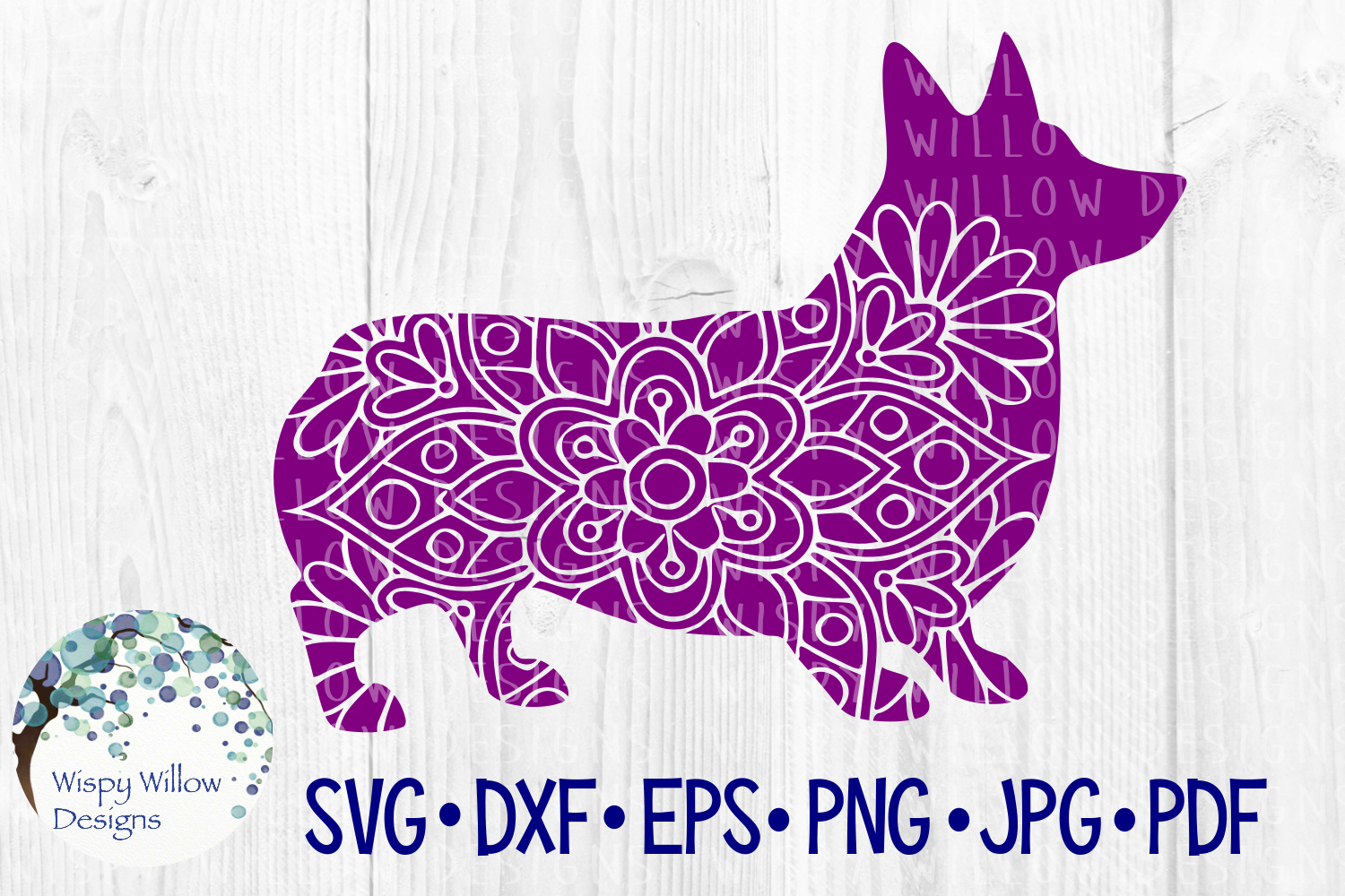 Download Free Corgi Floral Mandala Dog Dogs Zentangle Graphic By for Cricut Explore, Silhouette and other cutting machines.
