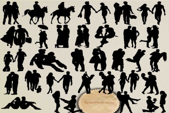 Download Free Couple Silhouette Graphic By Retrowalldecor Creative Fabrica for Cricut Explore, Silhouette and other cutting machines.
