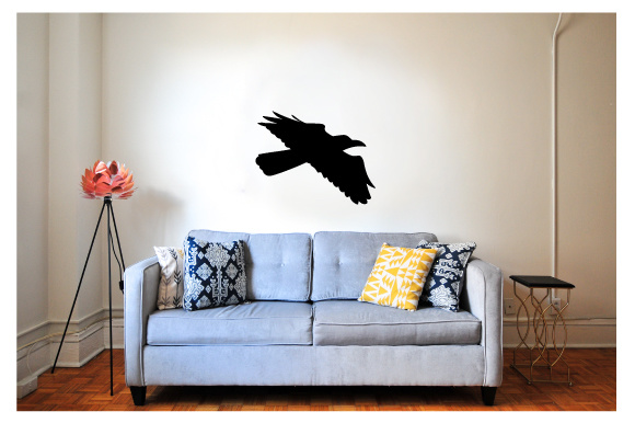 Creepy Wall Cutout - Raven Flying Craft Design By Creative Fabrica Crafts Image 1