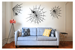 Creepy Wall Cutout - Spiderweb with Spiders Halloween Craft Cut File By Creative Fabrica Crafts
