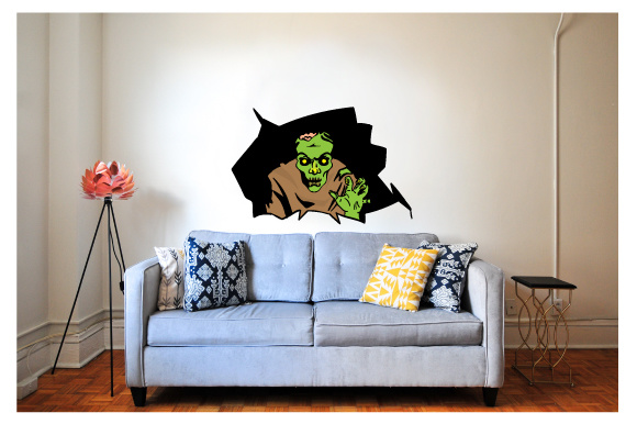 Creepy Wall Cutout - Zombie Coming out of the Wall Halloween Craft Cut File By Creative Fabrica Crafts